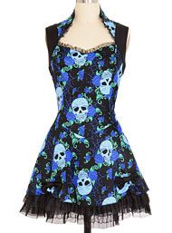 The New Victorians - Eternal Rest Skulls & Roses Dress by Jawbreaker Clothing