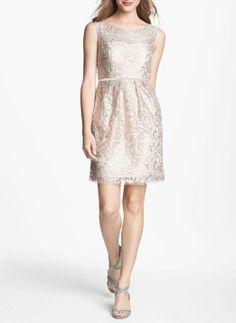 Gorgeous metallic lace sheath dress for a bridesmaid.