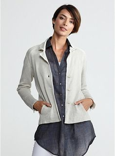 Notch Collar Jacket in Cotton Metallic, with inspiration from Eileen Fisher