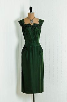 Items similar to 1950's Vintage Olive-Green Iridescent Heavily-Beaded Shimmer Taffeta-Couture Hourglass Low-Plunge Sleeveless Nipped-Waist Rocakbilly Femme-Fatale Bombshell Pencil-Wiggle Noir Formal Evening Wedding Cocktail Party Dress and Matching Bolero-Jacket on Etsy