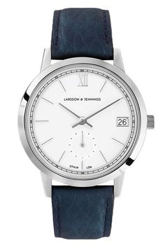 "If you're looking for some signature Anglo-Swedish minimalism. look no further than [link url=""http://www.gq-magazine.co.uk/article/larsson-and-jennings-watch-fika-coffee-shop-monmouth-street-london""]Larsson & Jennings[/link]. With its clean, gloss-white dial, brushed steel markers and hand-stitched navy leather strap, this sleek smart-causal in watch form. [i]£325, [link url=""https://www.larssonandjennings.com/shop/saxon/navy-strap-saxon-silver-watch""]larssonandjennings.com[/link][/i]"