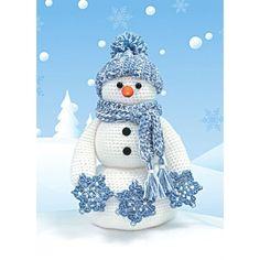 Mary Maxim - Crochet Snowman Yarn Craft Kit - This adorable snowman kit will melt your heart.