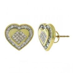 0.50ct 14k Yellow Gold Diamond Invisible Heart Earrings - Allurez.com