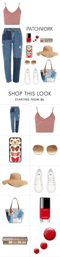 """Denim Patchwork"" by stylish-hufflepuff ❤ liked on Polyvore featuring River Island, Topshop, Chloé, Old Navy, Marc Jacobs, Chanel and Urban Decay"