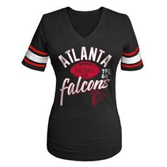 Women's Atlanta Falcons Nike Black Fan V-Neck T-Shirt