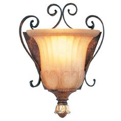 Best Bathroom Light Fixtures | Livex Lighting 856063 Villa Verona 1 Light Verona Bronze Finish ADA Wall Sconce with Aged Gold Leaf Accents and Rustic Art Glass -- See this great product.(It is Amazon affiliate link) #lifestylestore
