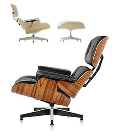 "The Eames Lounge Chair and Ottoman have their origin in Charles and Ray's investigations into molding plywood and a desire to improve upon a familiar fixture in many living rooms: the lounge chair. Citing the English club chair as inspiration, Charles said he sought to design a modern version of that chair, one that had ""the warm receptive look of a well-used first baseman's mitt."" Almost immediately, the design became an icon of American design."