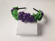 Purple and green Crown - Bridal Flower Crown, Wedding Hair Accessory, Floral Crown, Bridal Headband, Rose Tiara