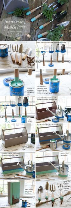 DIY Dipped Garden Tools with Matching Watering Can and Tool Box