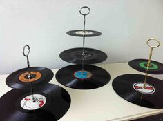 great idea for party theme of record shelf!!