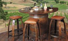 How cool is this? Totally LOVE it!  Wine Barrel Tables | Pub Tables | American Country