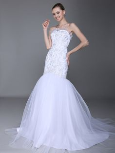 Embroidered Lace Bodice Mermaid Wedding Dress