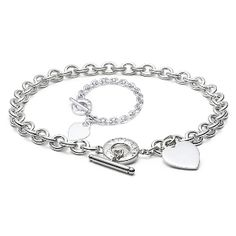 Heart Tag Toggle Link Set,including HEART TAG Toggle necklace (FNL020) and HEART TAG Toggle Bracelet (FBL034), genuine silver.
