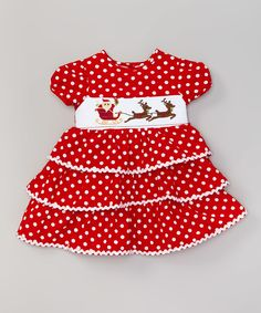Loving this Red Dot Santa Smocked Tiered Dress - Toddler & Girls on #zulily! #zulilyfinds