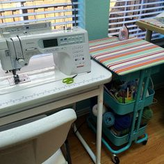 ellyn's place: removable ironing board to top the IKEA Raskog cart so it's portable Sewing Room Design, Sewing Room Storage, Craft Room Design, Sewing Spaces, Sewing Room Organization, Craft Room Storage, My Sewing Room, Sewing Rooms, Sewing Studio
