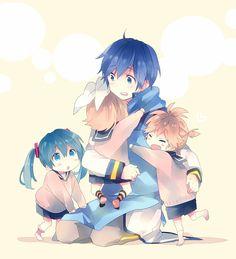 Tags: Fanart, Hatsune Miku, Vocaloid, Kagamine Rin, Kagamine Len, KAITO, Pixiv, Ousaka Nozomi