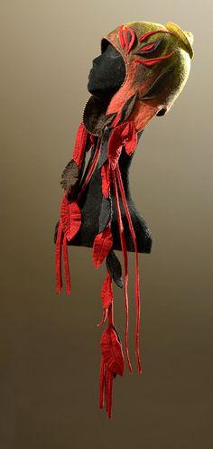 Elisabeth Wannaz - Patricia Gelinas Gallery Fractal, Flapper Hat, Wool Art, Animal Hats, Felting Tutorials, Felt Fabric, Felt Hearts, Headgear, Felt Flowers