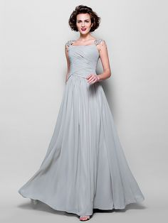 Lanting A-line Plus Sizes / Petite Mother of the Bride Dress - Silver Floor-length Sleeveless Chiffon / Lace - USD $125.99