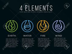 Nature 4 Elements Icon Sign. Water, Fire, Earth, Air. On Dark.. Royalty Free Cliparts, Vectors, And Stock Illustration. Image 54421851.
