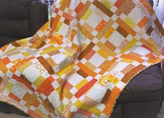 Patchwork Quilt colourful patchwork orange yellow and white