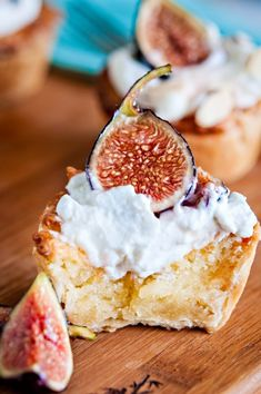 """Mini Almond Pies with Figs and Whipped Cream"" -- (They're actually frangipane tarts and she gives suggestions for combinations other than the fig.)"