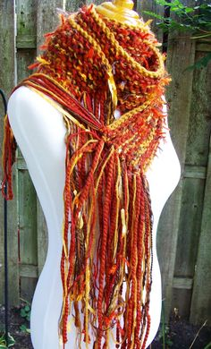 Pumpkin Hand Knit Scarf Chunky Style Extra Long Autumn by Fanchi, $30.00