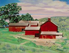 1934 Charles Sheeler (American artist) Connecticut Barns in Landscape