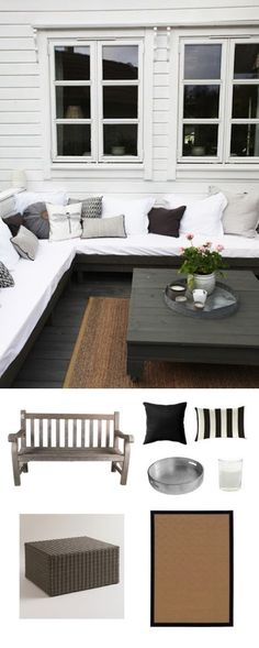 Black, white, and grey hues create a refined, industrial feel for this classic outdoor space.