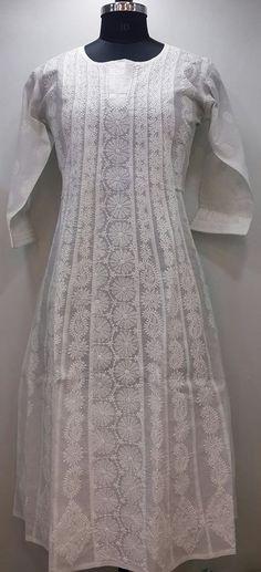 Lucknow Chikan Online Anarkali Kurti White On White Cotton Indian Bollywood Bollywood Fashion Pakistani