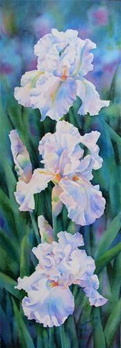 THREE GRACES (SOLD) iris flower watercolor painting - Original Fine Art for Sale - © Barbara Fox