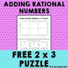 Adding Rational Numbers Puzzle Adding Integers, Rational Numbers, Number Puzzles, 7th Grade Math, Math Workshop, Puzzle Pieces, Math Activities, Homework, Students