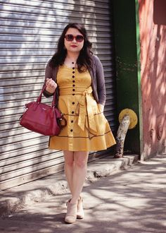 #fashion #blogger in a #vintage inspired #eshakti #yellow #sailboat #dress and ankle boots