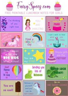 Free Printable Lunchbox Notes for girls! Save them to your computer, print them, cut them up and picture your little girl's face lighting up as she opens her lunch box at school every day! Lunchbox Notes For Kids, Lunch Notes, Affirmations For Kids, Funny Note, Cool Lunch Boxes, Funny Jokes For Kids, Teachers' Day, Kids Learning, Kindness Notes