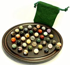Mini Marble Solitaire Board With Semi-Precious Stones, 2015 Amazon Top Rated Marble Games #Toy