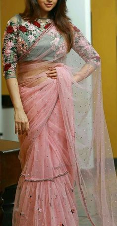 Buy Pink Color Saree by Akanksha Singh at Fresh Look Fashion Saree Blouse Neck Designs, Fancy Blouse Designs, Saree Blouse Patterns, Designer Blouse Patterns, Trendy Sarees, Stylish Sarees, Fancy Sarees, Saree Gown, Lehenga