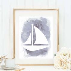 Watercolor Print Sailboat Wall Art Sail Boat by JettyPrintables