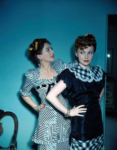 Joan Crawford fixes Joan Leslie's hair color photo print ad movie stars 40s dress black plaid satin taffeta ribbon
