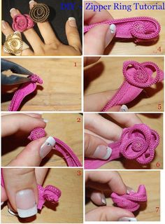 20 Great DIY Bracelets and Rings Tutorials - Style MotivationDIY Rings diy crafts craft ideas easy crafts diy ideas crafty easy diy diy jewelry diy ring jewelry diy craft ring by revaZipper ring or anything elsePlates candlesticks knobs = Tiered jewe Zipper Flowers, Fabric Flowers, Zipper Crafts, Zipper Jewelry, Do It Yourself Fashion, Ring Tutorial, Diy Rings, Diy Schmuck, Bijoux Diy