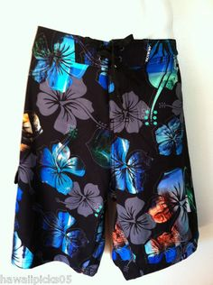 Maui & Sons Hawaiian Surf Mens Board Shorts hibiscus floral postcard design - Love the colors