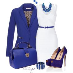 APPROVED: BLACK D&B BAG - White Dress, Royal Blue Short Cardigan, Gold Heart Belt, Royal Blue, Orange & Gold Statement Necklace, Gold Crown Bangle,  Royal Blue Ring, Gold Watch, Gold Knob Earrings, Gold Heel Shoes.