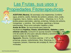Las Frutas, sus usos yPropiedades Fitoterapeuticas.   ACEITUNA (Neutra). Se aconseja a los inapetentes, Contiene   agua, p...