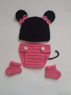 NEW Newborn Baby Minnie Mouse Hat Diaper Cover Booties Crochet Photo Prop #Handmade