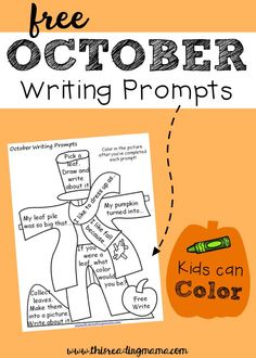 FREE October Writing Prompts Kids Can Color | This Reading Mama