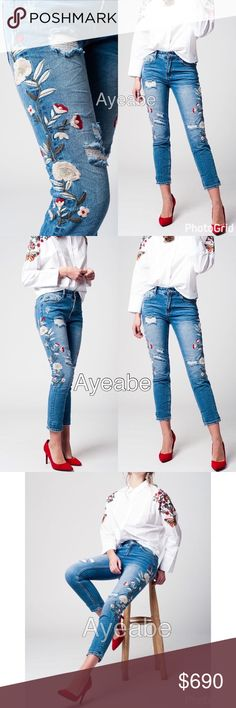"""Distressed skinny denim jeans embroidered flower New sexy distressed denim jeans skinny legs ripped and embroidered flowers. 5- pockets, Light washed jeans, stretchy and skinny . Regular waist. Super Sexy and trendy distressed denim skinny jeans pants bottom trousers with flower embroidery. Fabric :100% cotton XS/4 waist 28"""", hips: 36"""", Rise 10"""", inseam: 26"""".  S/6 waist 30"""", hips: 38"""",Rise 10"""", inseam: 27"""".  M/8 waist 32"""", hips: 40"""", Rise 10"""", inseam: 27"""".  L/10 waist 34"""",hips: 42, Rise10""""…"""