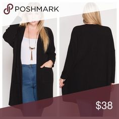 Black Long Sleeve Cardigan With Pockets Long sleeve cardigan is comfy and warm, has side pockets, and a lightly ribbed texture. EVIEcarche Jackets & Coats