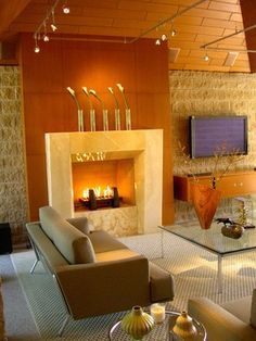Contemporary Gas Fireplace with Backlit Onyx Surround | Warm By ...