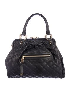 Black quilted leather Marc Jacobs Stam bag with antique brass hardware, zip pocket at front face featuring zip closure, detachable chain link shoulder strap, dual rolled top handles, dark purple suede lining, single pocket at interior wall with zip closure and kiss-lock closure at top. Includes dust bag. Shop our Marc Jacobs handbag sale at The RealReal.