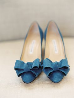 Blue Manolo Blahnik with Bow | Photography: D'Arcy Benincosa Photography