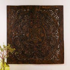 Teak Lotus Handcarved Wall Panels