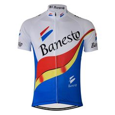 Team Banesto Retro Cycling Jersey Bue Red Yellow | Freestylecycling.com Cycling Gear, Cycling Jerseys, Cycling Outfit, Mtb Gloves, Bicycle Safety, Vintage Cycles, Retro Men, Jersey Shirt, Yellow